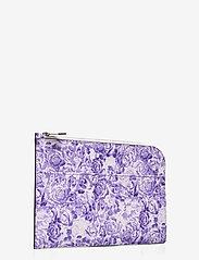 Ganni - Printed Leather - kaart houders - violet tulip - 1
