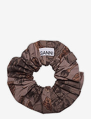 Ganni - Printed Cotton Poplin - scrunchies - fossil - 1