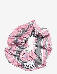 Ganni - Cotton Seersucker - scrunchies - pink nectar - 0