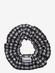 Ganni - Seersucker check - scrunchies - black - 0