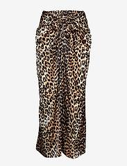 Ganni - Silk Stretch Satin Skirt - maxi skirts - leopard - 0