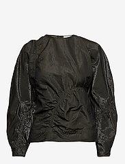 Ganni - Shiny Chino - long sleeved blouses - kalamata - 0