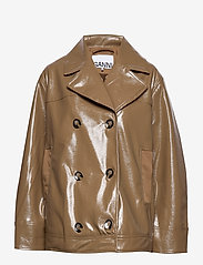 Ganni - Patent Oversized Jacket - nahkatakit - ermine - 0