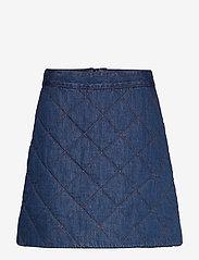 Ganni - Quilted Denim - jeansowe spódnice - denim - 0