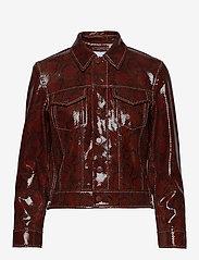 Ganni - Snake Foil Leather - nahkatakit - decadent chocolate - 1