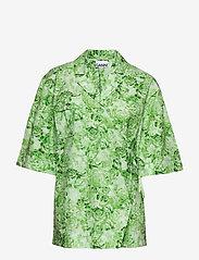 Ganni - Printed Cotton Poplin - lyhythihaiset paidat - island green - 0
