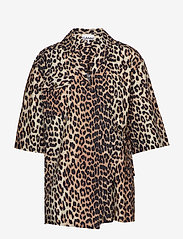Ganni - Printed Cotton Poplin - overhemden met korte mouwen - leopard - 0