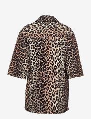 Ganni - Printed Cotton Poplin - lyhythihaiset paidat - leopard - 1