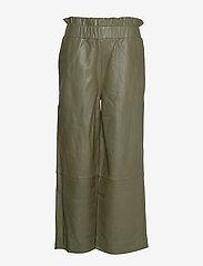 Ganni - Lamb Leather Pants - spodnie skórzane - kalamata - 0