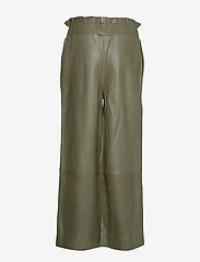 Ganni - Lamb Leather Pants - spodnie skórzane - kalamata - 1