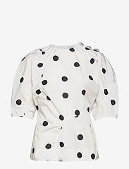 Ganni - Recycled Polyester - short-sleeved blouses - egret - 0