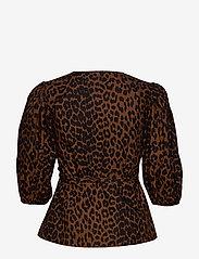 Ganni - Printed Cotton Poplin - long sleeved blouses - toffee - 1