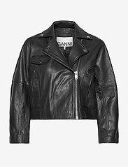 Ganni - Light Grain Leather - nahkatakit - black - 0