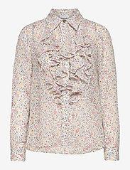 Ganni - Printed Georgette - langærmede bluser - egret - 0