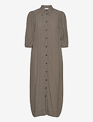 Ganni - Printed Crepe - everyday dresses - tannin - 0