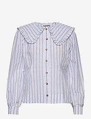 Ganni - Feathery Cotton - långärmade blusar - heather - 0