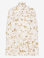 Ganni - Printed Cotton Poplin - summer dresses - cognac - 0