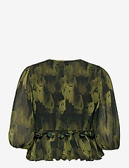 Ganni - Pleated Georgette - langærmede bluser - olive drab - 1