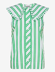 Ganni - Stripe Cotton - Ærmeløse bluser - kelly green - 0