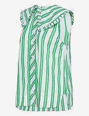 Ganni - Stripe Cotton - Ærmeløse bluser - kelly green - 2