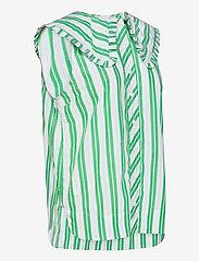 Ganni - Stripe Cotton - Ærmeløse bluser - kelly green - 3