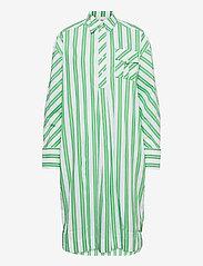 Ganni - Stripe Cotton - skjortekjoler - kelly green - 0