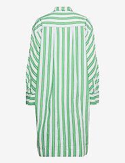 Ganni - Stripe Cotton - skjortekjoler - kelly green - 1