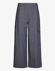 Ganni - Highwaisted Cropped Pants - bukser med brede ben - dress blues - 0