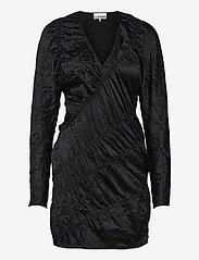 Ganni - Crinkled Satin - summer dresses - black - 0