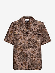Ganni - Printed Cotton Poplin - kortærmede skjorter - fossil - 0