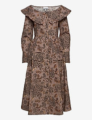 Ganni - Printed Cotton Poplin - midi kjoler - fossil - 0