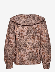 Ganni - Printed Cotton Poplin - long sleeved blouses - fossil - 1