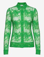 Ganni - Lace - long-sleeved shirts - kelly green - 0