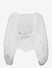 Ganni - Broderie Anglaise - langærmede bluser - bright white - 1
