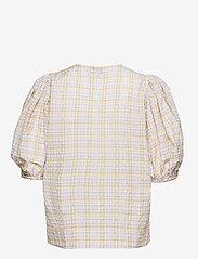 Ganni - Seersucker check - short-sleeved blouses - multicolour - 1
