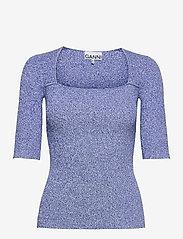 Ganni - Melange Knit - kortærmede bluser - daphne - 0