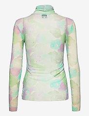 Ganni - Printed Mesh - langærmede bluser - bright white - 1