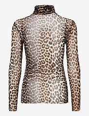 Ganni - Printed Mesh - langærmede bluser - leopard - 1