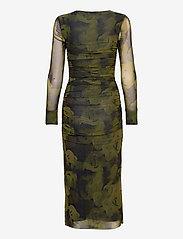 Ganni - Printed Mesh - stramme kjoler - olive drab - 1
