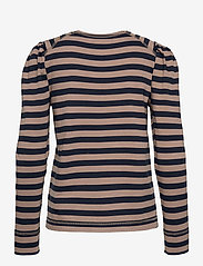 Ganni - Striped Cotton Jersey - langærmede toppe - sky captain - 1
