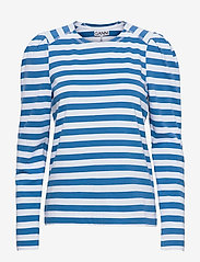 Ganni - Striped Cotton Jersey - t-shirt & tops - bright white - 0