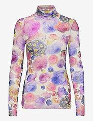 Ganni - Printed Mesh - langærmede toppe - multicolour - 0