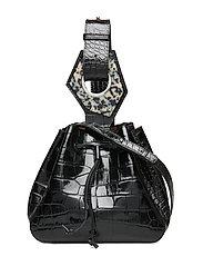 Leather Small Drawstring Bag - BLACK