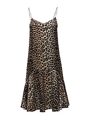 Dufort Silk Strap Dress - Leopard