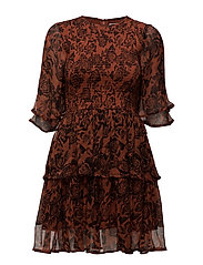 Beaumont Chiffon Dress - Brandy Brown