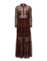 Beaumont Chiffon Maxi Dress - Brandy Brown