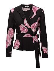 Fayette Silk Wrap Top - BLACK