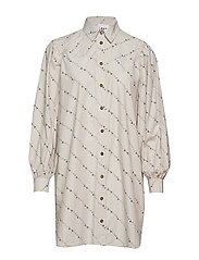 Printed Cotton Poplin Shirt Dress - VAPOR BLUE
