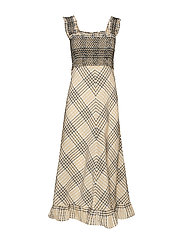 Seersucker Check Maxi Dress - IRISH CREAM