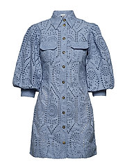 Broderie Anglaise Mini Dress - FOREVER BLUE